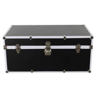 Warwick 14 in. Black and Chrome Wood and Leather Storage Trunk
