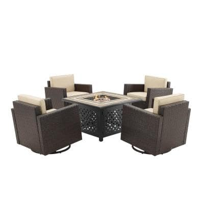 Palm Harbor Brown 5-Piece Wicker Patio Fire Pit Set with Sand Cushions