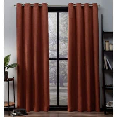 Mecca Orange Thermal Grommet Blackout Curtain - 52 in. W x 108 in. L (Set of 2)