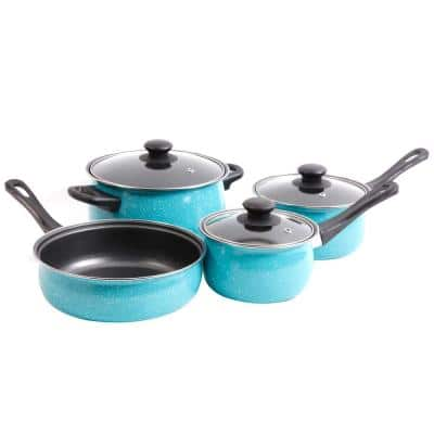 Casselman 7-Piece Carbon Steel Nonstick Cookware Set in Turquoise Speckle