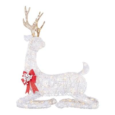 3.5 ft Polar Wishes White LED Lying Deer Yard Sculpture