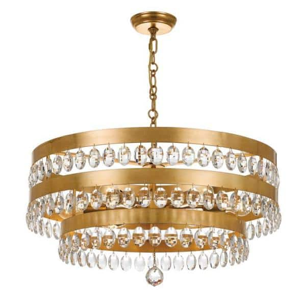 Crystorama Perla 6 Light Antique Gold Cage Chandelier 6108 Ga The Home Depot