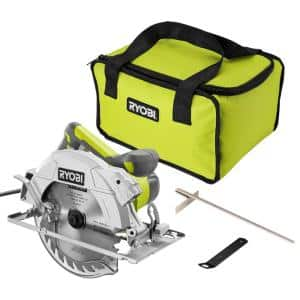15 Amp Corded 7-1/4 in. Circular Saw with EXACTLINE Laser Alignment System, 24T Carbide Tipped Blade, Edge Guide and Bag