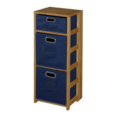 34 in. Medium Oak/Blue Wood 3-shelf Foldable Accent Bookcase