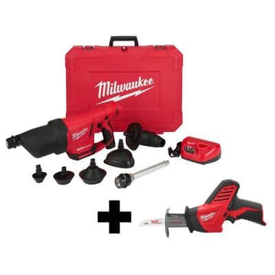 M12 12-Volt Lithium-Ion Cordless Drain Cleaning Airsnake Air Gun Kit with M12 HACKZALL Reciprocating Saw