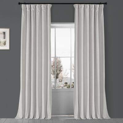 Porcelain White Velvet Rod Pocket Blackout Curtain - 50 in. W x 120 in. L