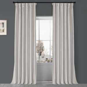 Porcelain White Velvet Rod Pocket Blackout Curtain - 50 in. W x 96 in. L