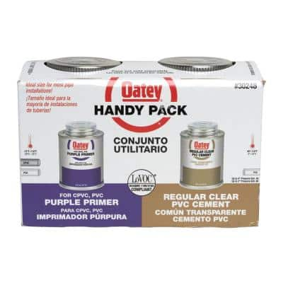 8 oz. Purple CPVC and PVC Primer and Regular Clear PVC Cement Combo Pack