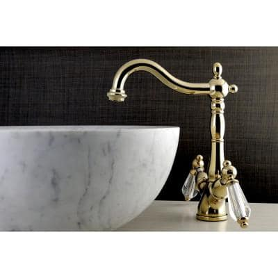 Victorian Crystal Single-Hole 2-Handle High-Arc Vessel Bathroom Faucet in Polished Brass