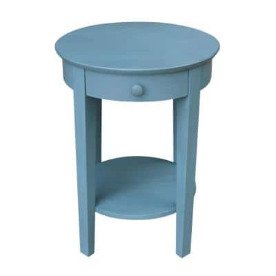 Phillips Ocean Blue Solid Wood Accent Table