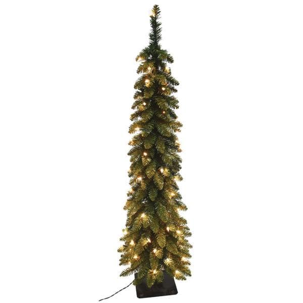 Santa S Workshop Inc 6 Ft Pre Lit Pencil Slim Artificial Christmas Tree With 150 Ul Lights 15964 The Home Depot