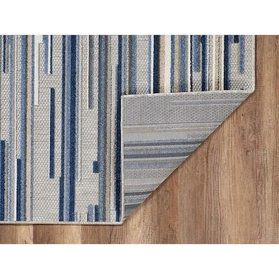 Calla Blue Denni 8 ft. x 10 ft. Coastal Abstract Indoor/Outdoor Area Rug