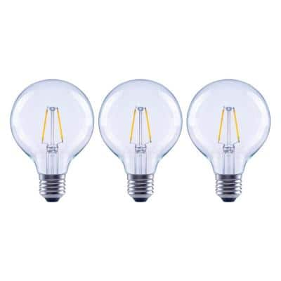 25-Watt Equivalent G25 Dimmable Globe Clear Glass Filament LED Vintage Edison Light Bulb Daylight (3-Pack)