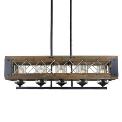 Modern Farmhouse Chandelier, Black Rectangular Dining Room Chandelier, 5-Light Kitchen Island Natural Wood Pendant Light