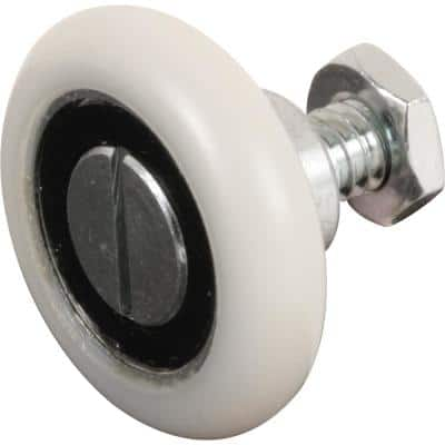 1-1/8 in. White, Nylon, Ball Bearing Drawer Rollers (2-pack)