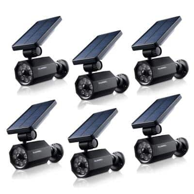 4-Watt Solar Powered Black Motion Activated Outdoor Integrated LED Bionic Spotlight Flood Light (6-Pack)