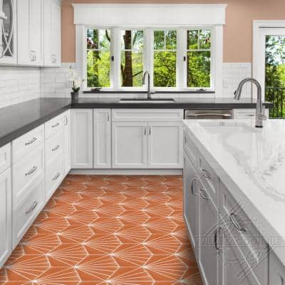 Spark C Tangerine 8 in. x 9 in. Cement Handmade Floor and Wall Tile (Box of 16/ 5.93 sq. ft.)