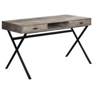 24 in. Rectangular Taupe/Black 2 Drawer Writing Desk with Built-In Storage