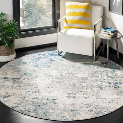 Brentwood Light Gray/Blue 9 ft. x 9 ft. Round Abstract Area Rug