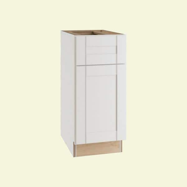Home Decorators Collection Wchester Light Vespar White Thermofoil Plywood Shaker Stock Semi Custom Base Kitchen Cabinet 12 In W X 24 In D B12l Wvw The Home Depot