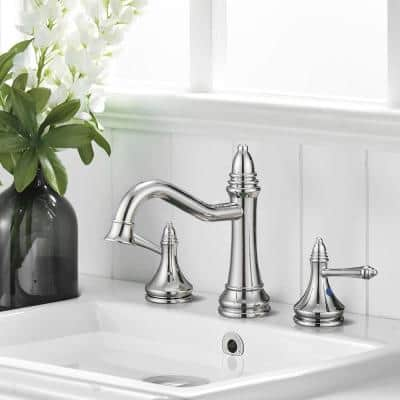 8 in. Widespread Double Handles Bathroom Faucet with Drain Kit included and Supply Lines in Brushed Chrome