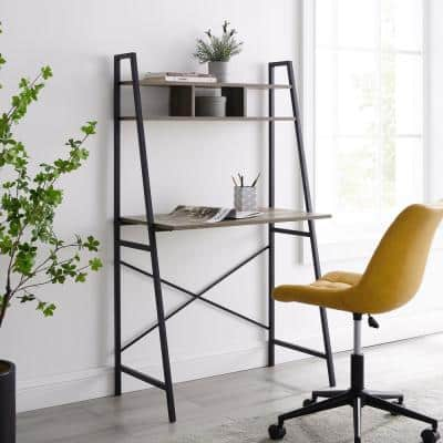 33 in. Grey Wash Wood and Metal Ladder Desk with Cubbies