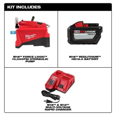 M18 FORCE LOGIC 18-Volt Lithium-Ion Cordless 10,000 PSI Hydraulic Pump Kit with 12.0 Ah Battery