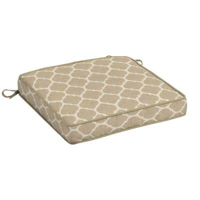 20 in. x 19 in. CushionGuard Toffee Trellis Square Outdoor Seat Cushion