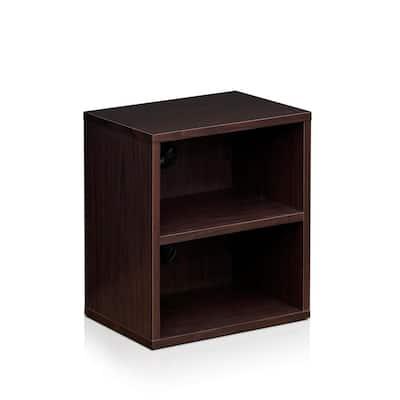 17.8 in. Espresso Wood 2-shelf Standard Bookcase with Storage