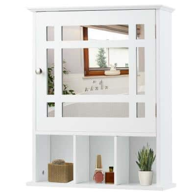 6 in. D x 24 in. H x 20 in. W White Wall-Mounted Bathroom Storage Wall Cabinet Mirror with Adjustable Shelf