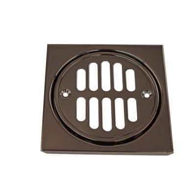 4-1/4 in. x 4-1/4 in. Shower Strainer Set Square with Crown in Oil Rubbed Bronze