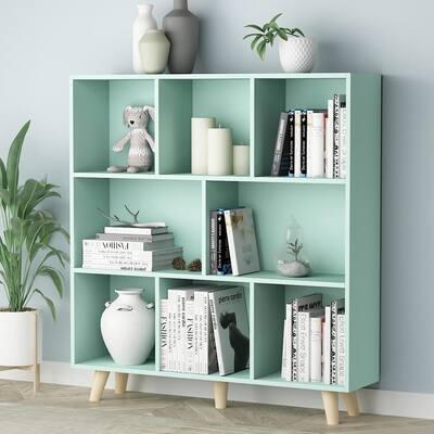 42.1 in. H Green Wood 10-Shelf Freestanding Standard Bookcase Display Bookshelf