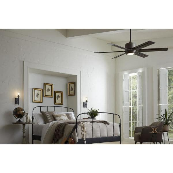 Glandon 60 In Indoor Led Antique Nickel Ceiling Fan For Living Room With Light Kit And