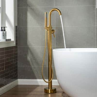 Venice Single-Handle Freestanding Floor Mount Tub Filler Faucet with Hand Shower in Brushed Gold