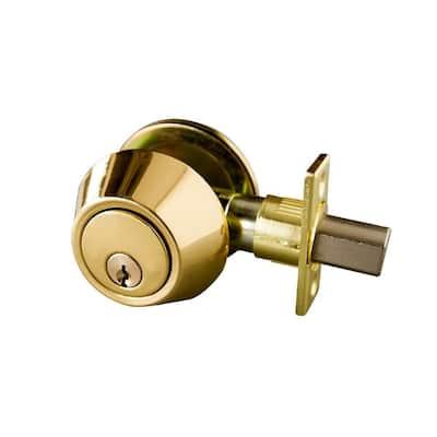 Single Cylinder Polished Brass Deadbolt with 6-Way Universal Latch