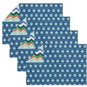 Nantucket 19 in. x 13 in. Blues Cotton Placemats (Set of 4)
