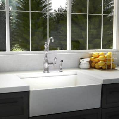 Single-Handle Kitchen Faucet with Side Sprayer in Chrome Finish