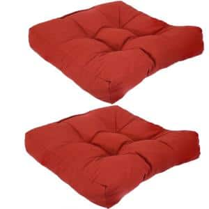 Brick Red Square Tufted Outdoor Seat Cushions (Set of 2)