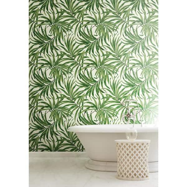 York Wallcoverings AT7050 Tropics Bali Leaves Wallpaper White//Green