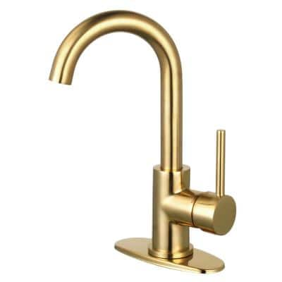 Concord Single Hole Single-Handle Bathroom Faucet in Brushed Brass