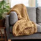 Camel Acrylic Chunky Knitted Throw