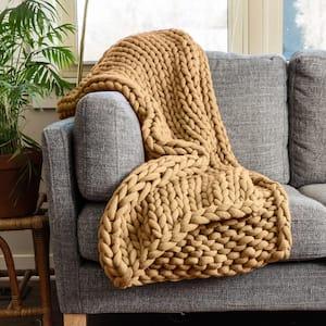 Chunky Knitted Camel Acrylic Throw Blanket