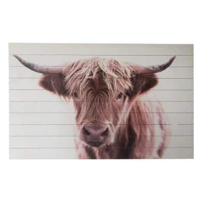 Brown Highland Cow Planked Wood Animal Art Print 30 in. x 48 in.