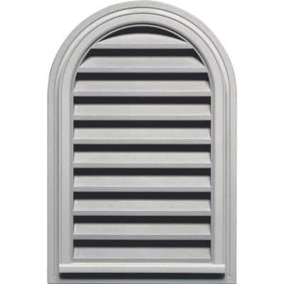22 in. x 32 in. Round Top Plastic Built-in Screen Gable Louver Vent #030 Paintable