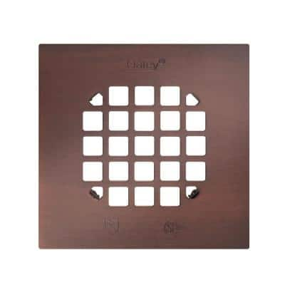 4-1/4 in. Square Snap-In Oil Rubbed Bronze Shower Drain Cover