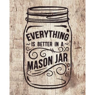 """20 in. x 24 in. """"Better in a Mason Jar Light Wood"""" Planked Wood Wall Art Print"""