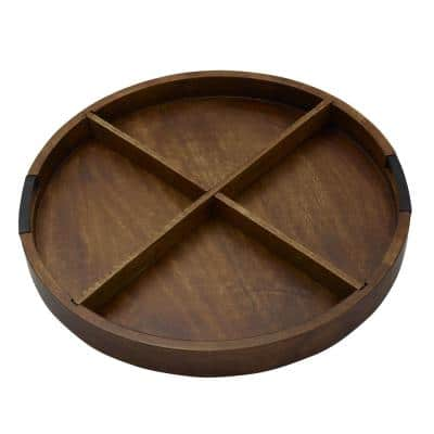 20 in. W x 2 in. H x 20 in. D Round Mango Wood Charcuterie Tray with Divider