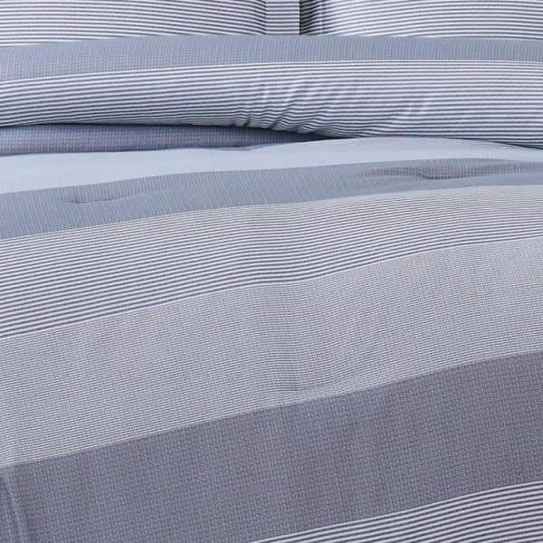 Truly Soft Grey Multi Stripe Full Queen 3 Piece Duvet Cover Set Dcs3225fq 1800 The Home Depot