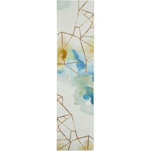 Illusion Water 2 ft. x 6 ft. Cream Abstract Runner Rug