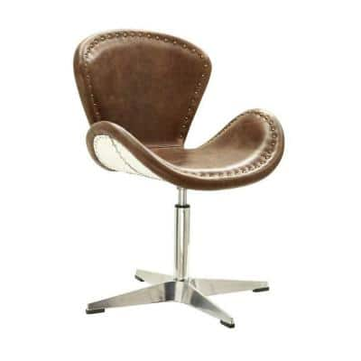 Amelia Retro Brown Leather Accent Chair